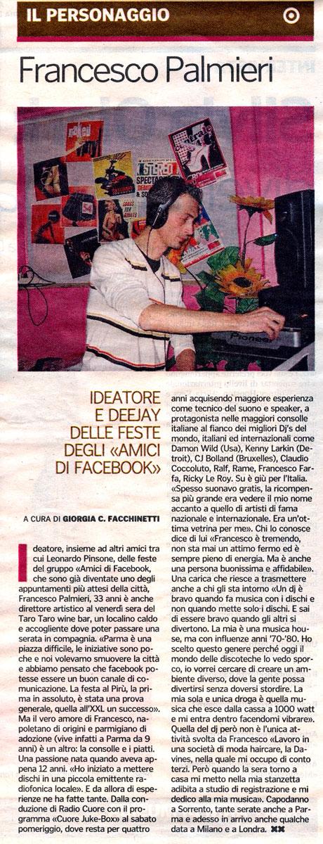 "Francesco Palmieri su ""Gazzetta di Parma"" 16 Gennaio 2009 Gazzet10"
