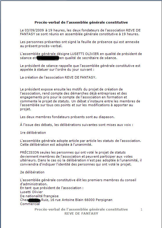 CONSTITUTION EN ASSOCIATION : DOCUMENTS ORIGINAUX DEPOSES EN PREFECTURE Pe111