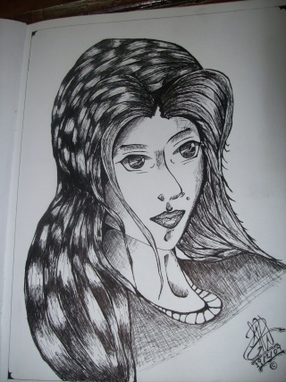 A PEN Drawing of an anmie Girl that was in my head 100_2315