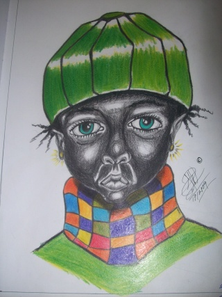 Colour Pencile Drawing from my mind Called Black African Girl 100_2317