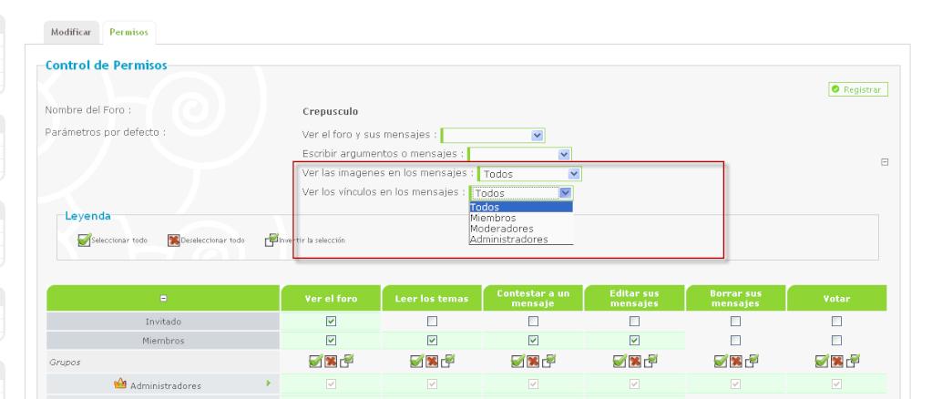 Posibilidad de poner permisos en las imagenes o en los vínculos en los temas Beta2110