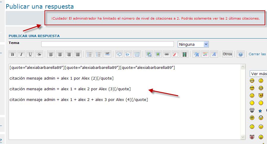 Limitar el nivel de imbricación en un mismo mensaje Beta2311