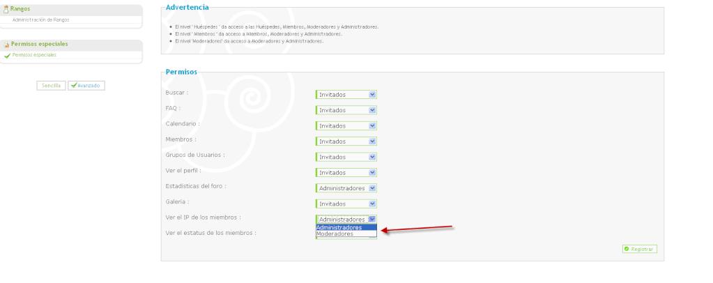 Nivel de permisos para ver el IP de un mensaje de un miembro Beta910