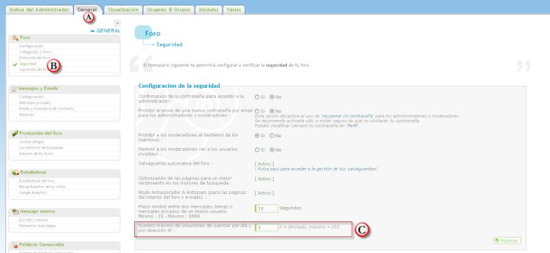 Escoger el numero de creación de cuentas por día y por IP Ip510