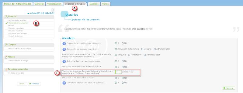 """Personalización del tiempo para que el miembro pase """"off line o fuera de linea"""" Temps10"""