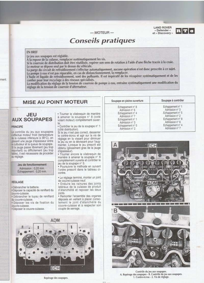 Réglage culbuteurs moteur 300 Tdi Ccf16010