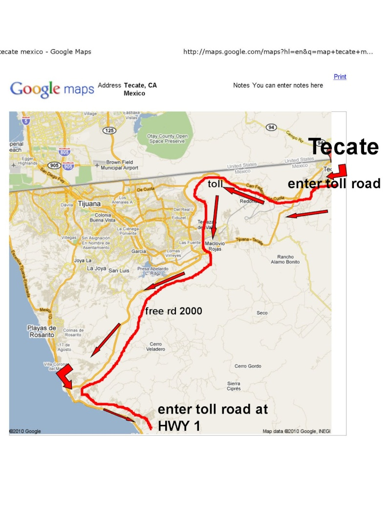 going south from tecate on the road that has no traffic to 1 Map_te10