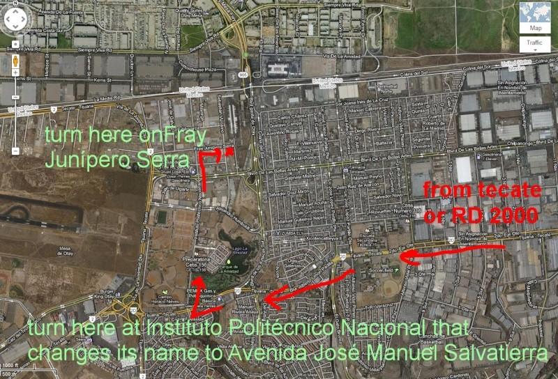 Aduana/Banjerco get a car TIP pass in TJ/ Otay Mesa MAP Tj10a10