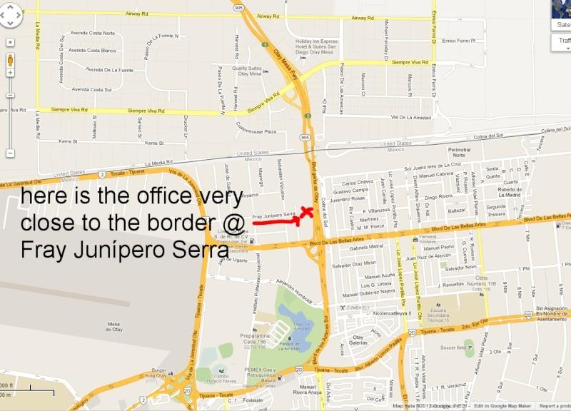 Aduana/Banjerco get a car TIP pass in TJ/ Otay Mesa MAP Tj710