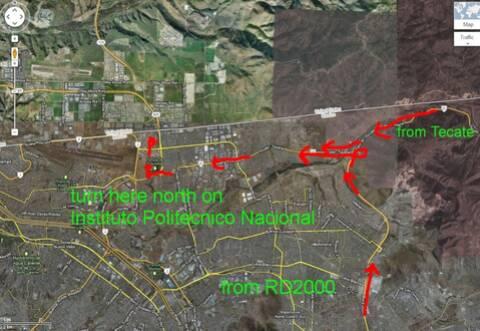 Aduana/Banjerco get a car TIP pass in TJ/ Otay Mesa MAP