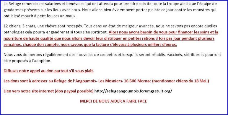 Chiens abandonnés : scène d'horreur à Ecuras (Charente) D10
