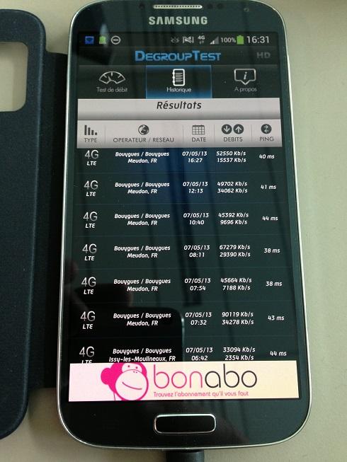 Mes débuts sur la 4G de Bouygues Telecom, avec un Galaxy S4 et Xperia Z 3testd11