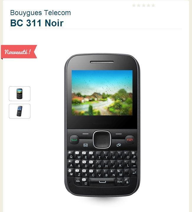 Gamme Bouygues Telecom: BC311 La Voix et SMS avant tout à moins de 50€ Bc31110