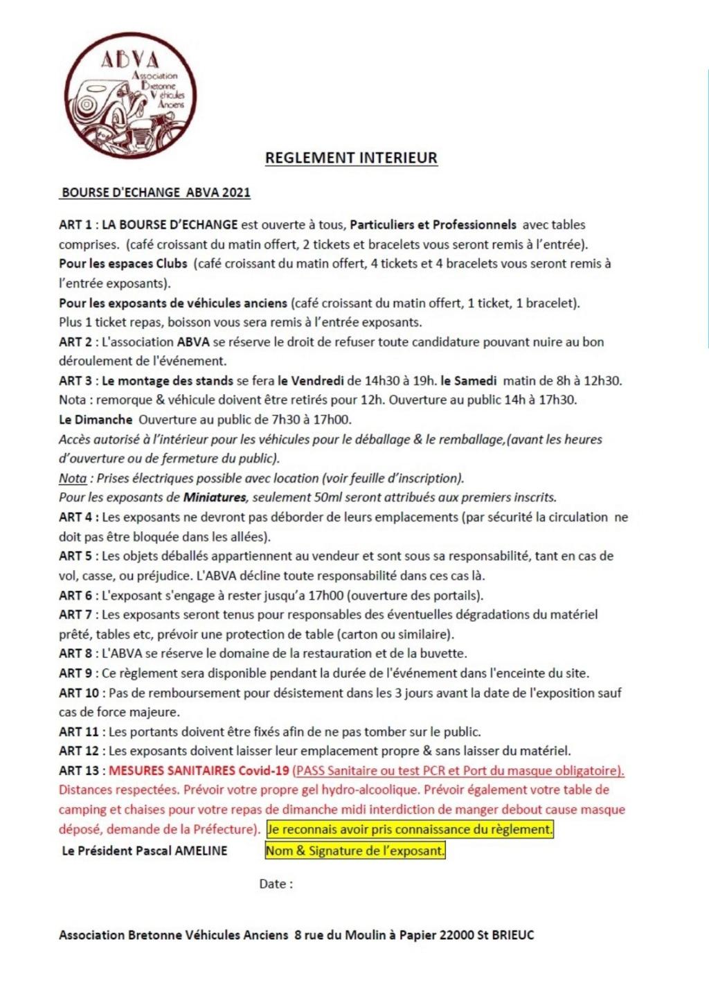 38ème Bourse d'échanges de l'ABVA - 23 & 24 Octobre 2021. Inscri16
