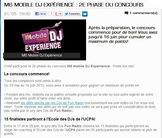 {(21/05/2013)] Fun Radio-  M6 mobile DJ Expérience   M6mobi10