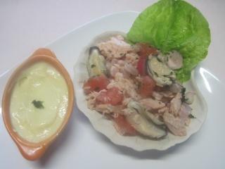 Coquilles de saumon et crustacés, garnies.photos.  Coquil10