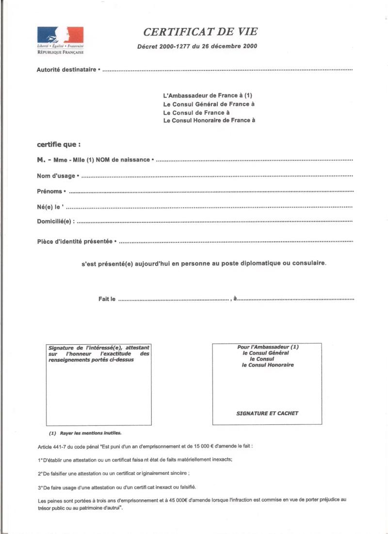 les certificats de vie à fournir périodiquement à nos caisses de retraite 00120