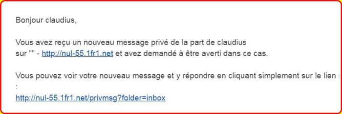 Mon Email apparaît dans les MP 294