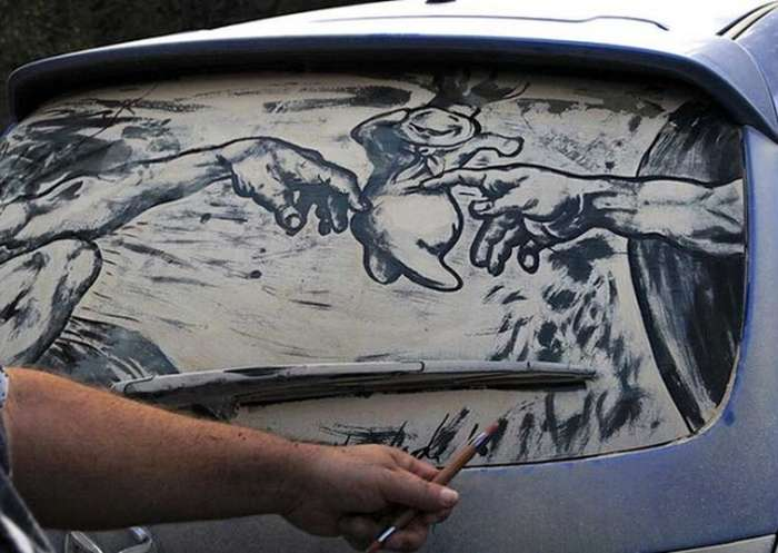 Piktura në xhamat me pluhur te makinave Makina10