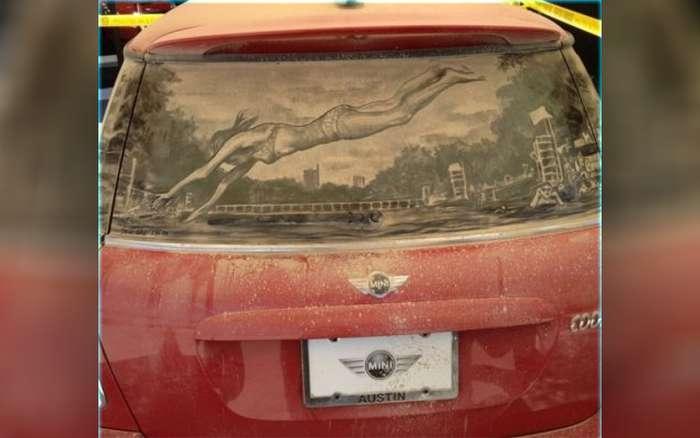 Piktura në xhamat me pluhur te makinave Makina11