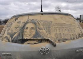 Piktura në xhamat me pluhur te makinave Makina13