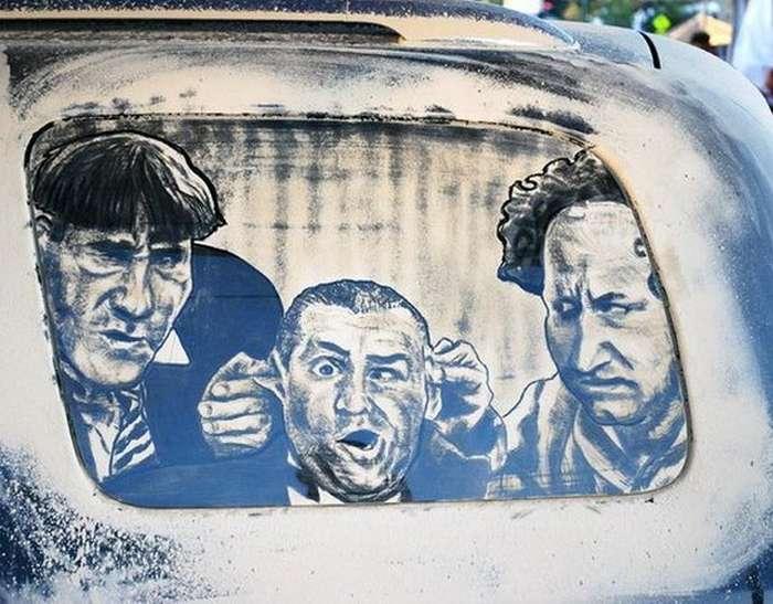 Piktura në xhamat me pluhur te makinave Makina15