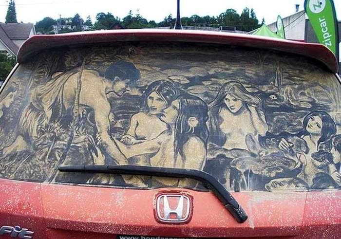 Piktura në xhamat me pluhur te makinave Makina16