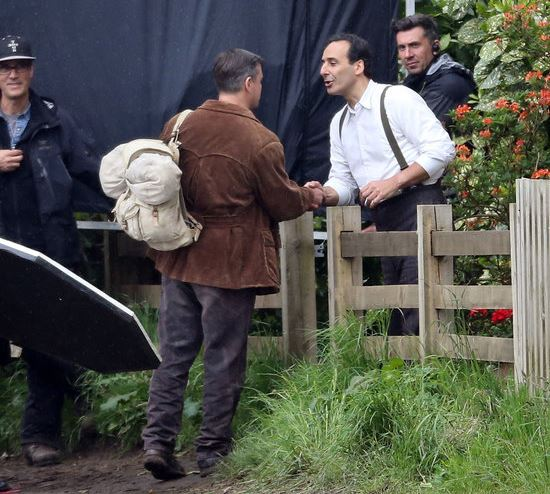 George Clooney filming at RAF/Imperial War Museum Duxford in Cambridgeshire London10