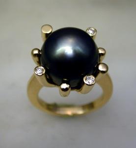 Bague Or Jaune Perle de Tahiti et Diamants Dscn2111