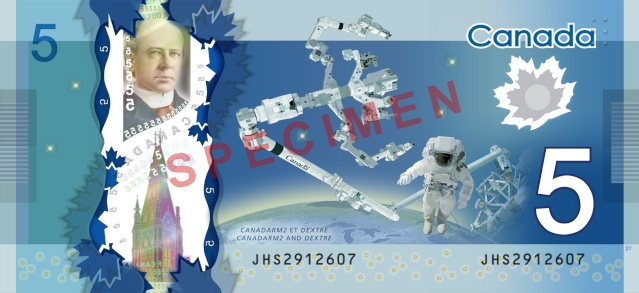 Billet - Le Canada émet un billet de 5$ commémorant Canadarm 86941510