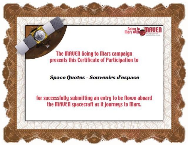 Envoyez votre nom tourner autour de Mars avec la sonde MAVEN Maven010