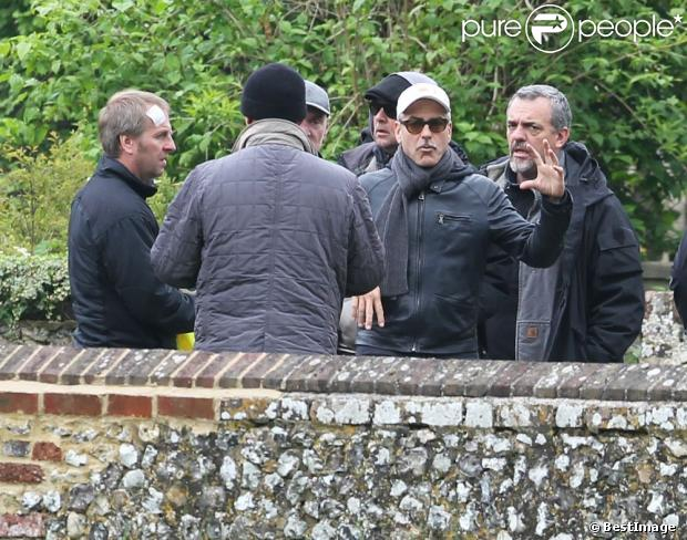 George Clooney filming at RAF/Imperial War Museum Duxford in Cambridgeshire 11433810
