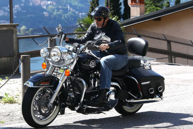 George Clooney goes for a motorbike ride in como Cloone17