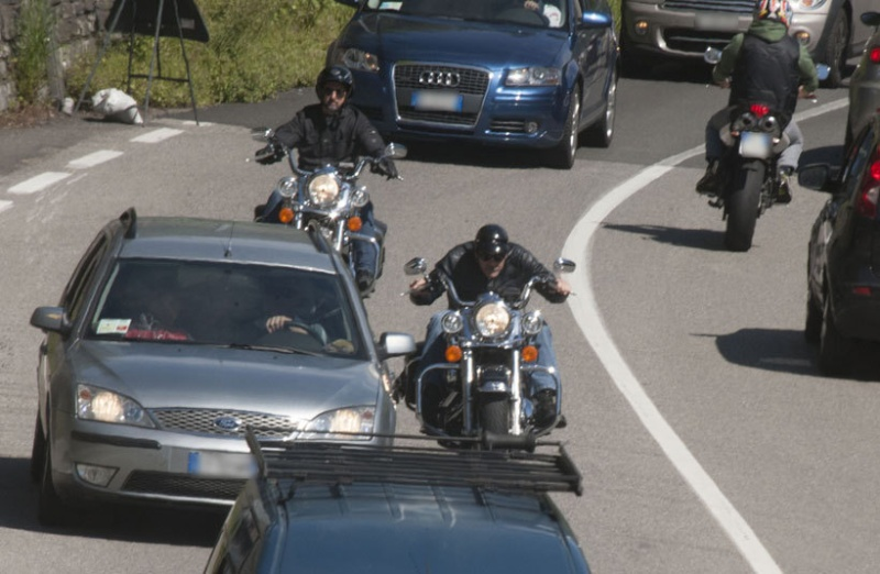 George Clooney goes for a motorbike ride in como Cloone22