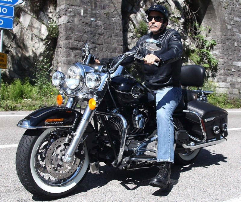 George Clooney goes for a motorbike ride in como Cloone23