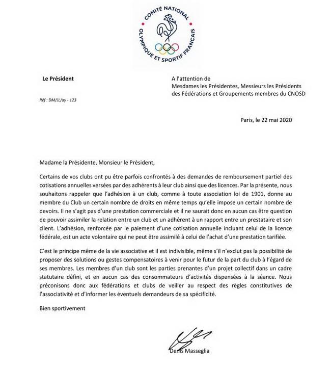 Message du CNOSF concernant les cotisations des licenciés 2020-010