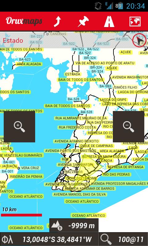 Usando OruxMaps sin un mapa Screen10