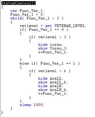 How to script veteran objects in Scriptor Status10