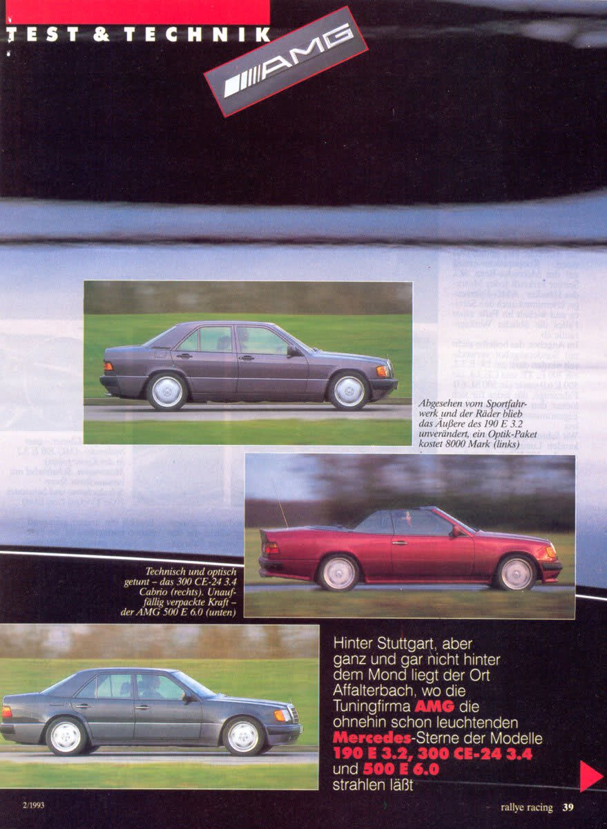 (W201): Avaliação 190E 3.2 AMG x 300CE-24 3.4 AMG x 500E 6.0 AMG - Rallye Racing® 1993 - alemão 28f61b10