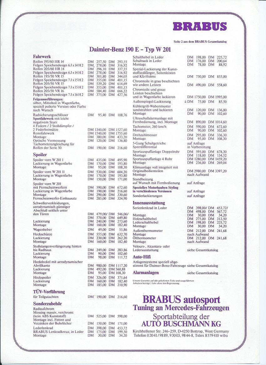 (W201): Catálogo BRABUS® 3067eb10