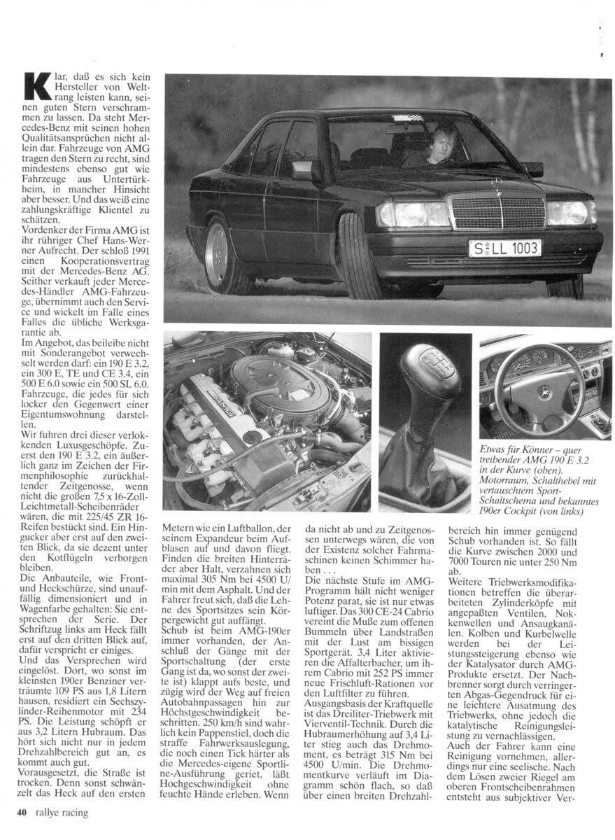 (W201): Avaliação 190E 3.2 AMG x 300CE-24 3.4 AMG x 500E 6.0 AMG - Rallye Racing® 1993 - alemão 82359b10