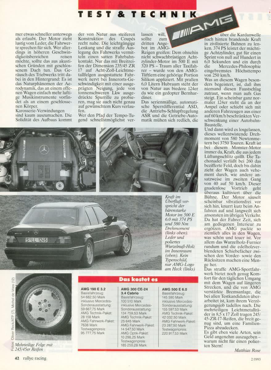 (W201): Avaliação 190E 3.2 AMG x 300CE-24 3.4 AMG x 500E 6.0 AMG - Rallye Racing® 1993 - alemão 9d43ba10
