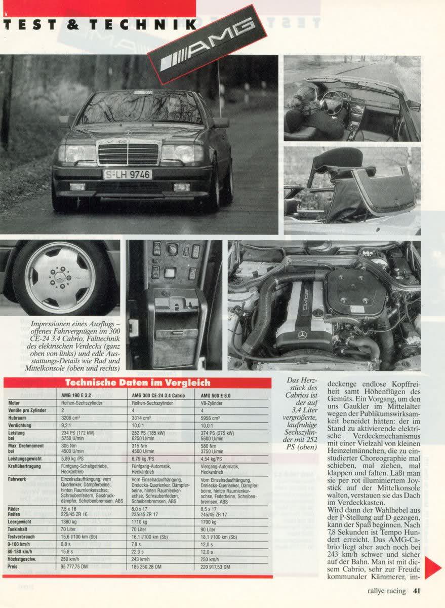 (W201): Avaliação 190E 3.2 AMG x 300CE-24 3.4 AMG x 500E 6.0 AMG - Rallye Racing® 1993 - alemão Ab75ad10