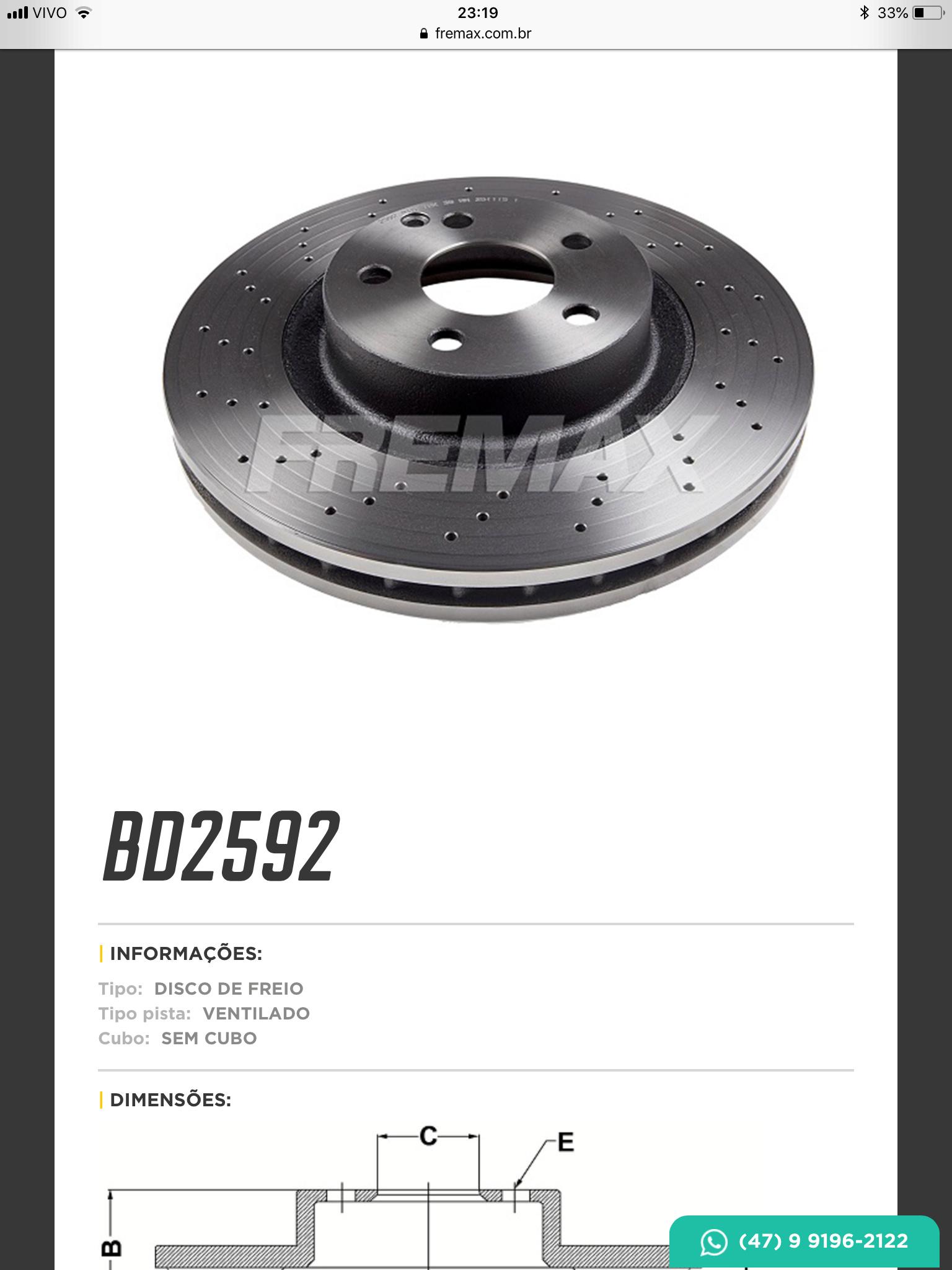 (X204): Troca dos discos de freio - Fremax® tem o modelo ventilado D0e8f810