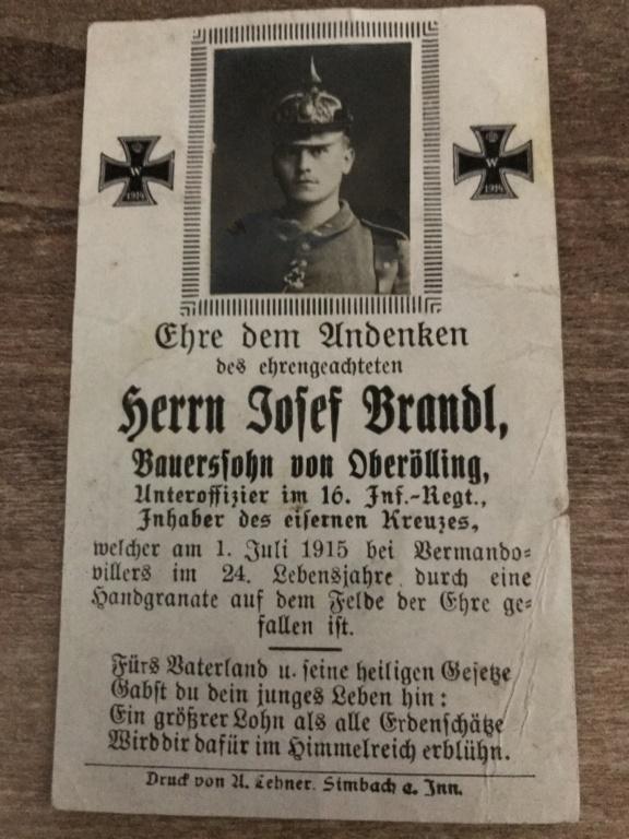 Avis de décès soldat allemand 14-18  7a340a10