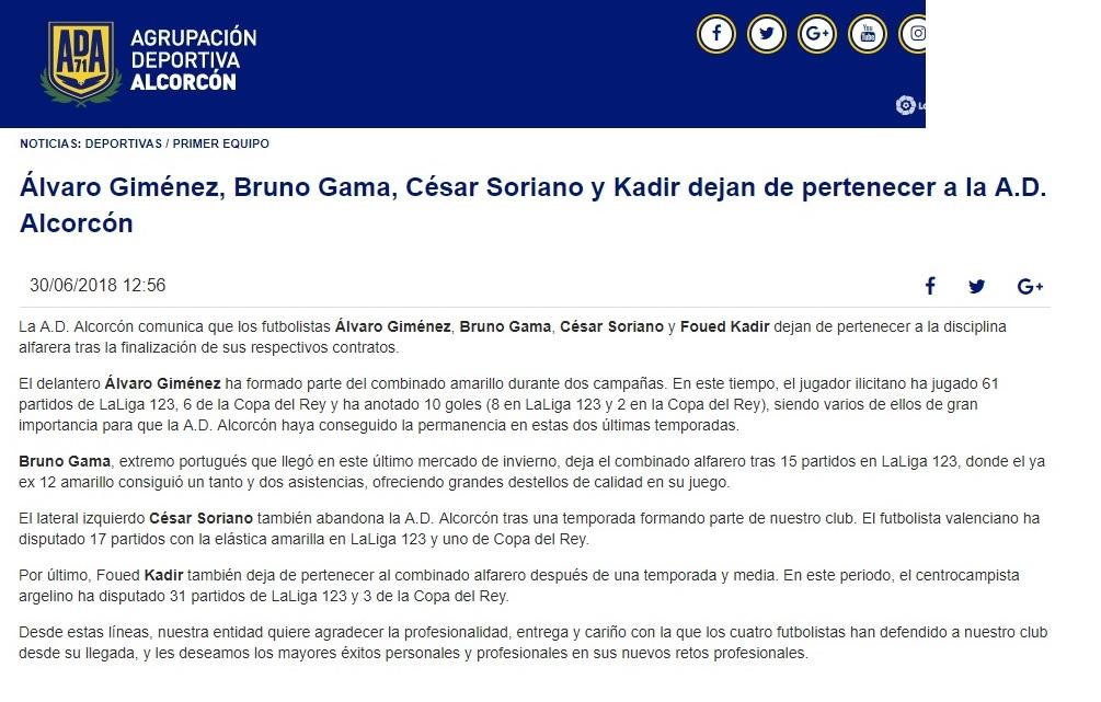 Altas y Bajas confirmadas Liga 1.2.3 Temporada 2018-2019 Alcor10
