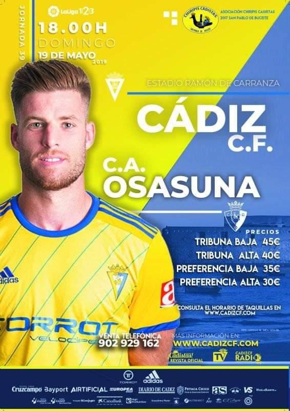 [J39] Cádiz C.F. - C.A. Osasuna - Domingo 19/05/2019 18:00 h. #CádizOsasuna Czediz14
