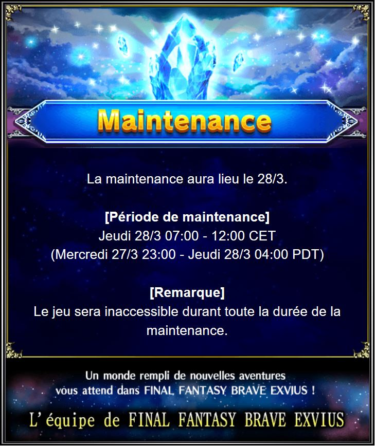 Maintenance 28/03 de 7H à 12H Captu128