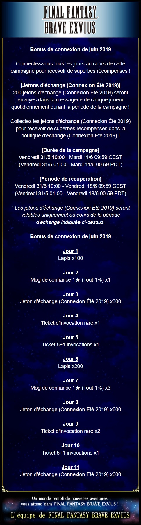 Bonus de connexion de Juin 2019 - du 31/05 au 11/06/19 Captu154
