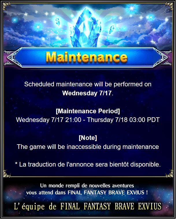 Maintenance 18/07/19 de 6H à 12H Captu173